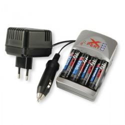Chargeur 12Vdc/230Vac pour 4 accu AA et AAA Ni-Mh/Ni-Cd avec 4 accumulateurs