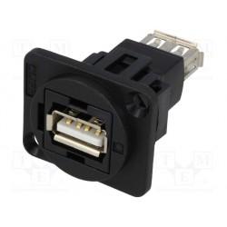 Embase USB-A femelle / femelle traversée de cloison