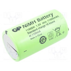 Accumulateur Ni-Mh 1,2V type D 11000mAh 33x60mm à cosses