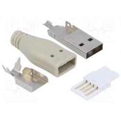 Fiche USB type A mâle à souder avec capot de protection