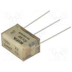 Filtre antiparasite X2 100nF + Y2 2 x 4,7nF 275Vac 12,5x16x24mm au pas de 20mm