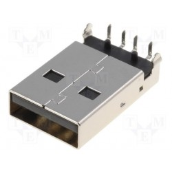 Embase USB-A coudée pour circuit imprimé