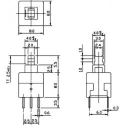 Poussoir inverseur bipolaire pour circuit imprimé 8x8mm on / mon