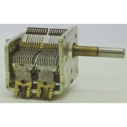 Condensateur variable à air 120pF + 280pF avec démultiplication axe 4x20mm