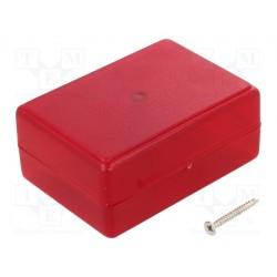 Boitier ABS 59x84x37mm rouge translucide fixation par vis centrale