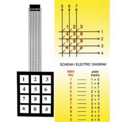 Clavier matricé à membrane 12 touches 73x57mm