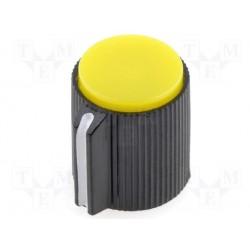 Bouton pour potentiomètre axe 6mm 13x15mm jaune serrage à vis