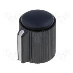 Bouton pour potentiomètre axe 6mm 13x15mm noir serrage à vis