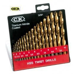 Coffret 19 forets HSS titane Ø de 1 à 10mm
