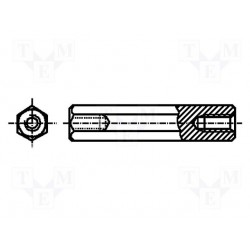 Entretoise filetée métal fem. / fem. 3x10mm