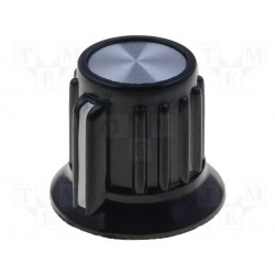 Bouton potentiomètre 19 mm noir à vis + index