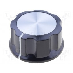 Bouton potentiomètre 30mm noir à vis + index