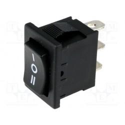 Inverseur à bascule unipolaire 10Amp. 250V mom / off / mom découpe du panneau 19.4x13mm