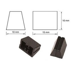 Bouton pour potentiomètre rectiligne 15x10mm noir