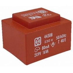 Transformateur moulé 230Vac / 2x12Vac 16VA