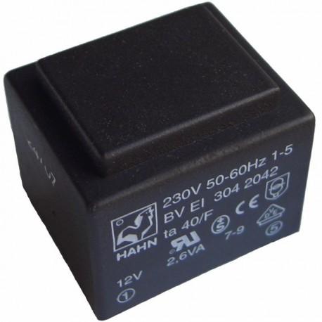 Transformateur moulé 230Vac / 12Vac 2,6VA dimensions 32.5 x 27.5 x 27.4mm
