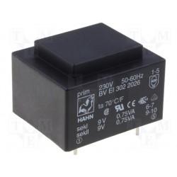Transformateur moulé 230V / 2x12V 1,5VA