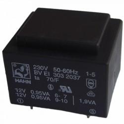 Transformateur moulé 230V / 2x12V 1,9VA