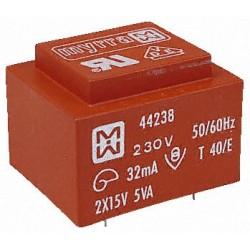 Transformateur moulé 230V / 2x12V 5VA