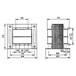 Transformateur 230Vac - 100VA 2x15Vac à étrier