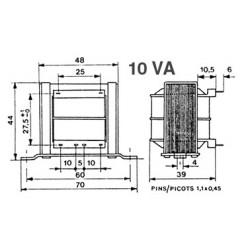 Transformateur 230V - 10VA 2x18V à étrier