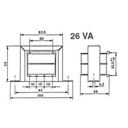 Transformateur 230Vac - 26VA 2x24Vac à étrier