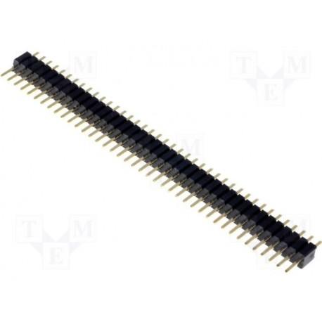 Barrette 40pts droite dorée 1,27mm mâle / mâle