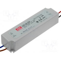 Alimentation Mean-Well IP67 - 90/264Vac - 9 à 48Vdc - switching led - 700mA - 33,6W