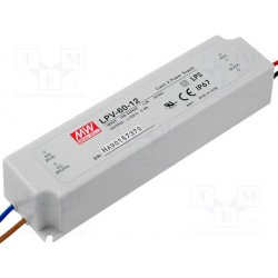 Alimentation Mean-Well pour diode led et ruban leds 60W 12Vdc 5Amp. IP67