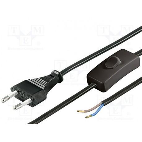 Cordon secteur 2x0,75mm² noir avec interrupteur longueur 1,5 mètre