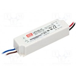 Alimentation Mean-Well pour diode led et ruban leds 20W 12Vdc 1,67Amp. IP67