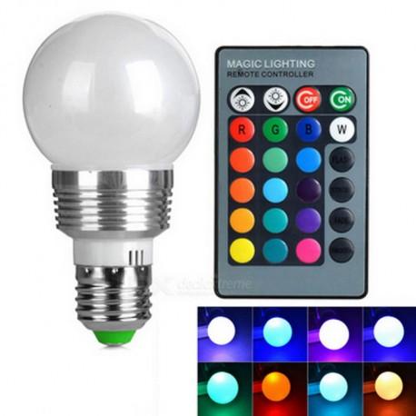 Ampoule E27 85 à 265Vac 4W RGB multiled avec télécommande