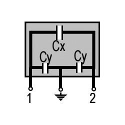 Filtre antiparasite X2 100nF + Y2 2 x 2,2nF 275Vac 12,5x16x24mm au pas de 20mm