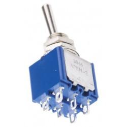 Inverseur miniature à levier DPDT 2R/T on / on Ø perçage 6,5mm