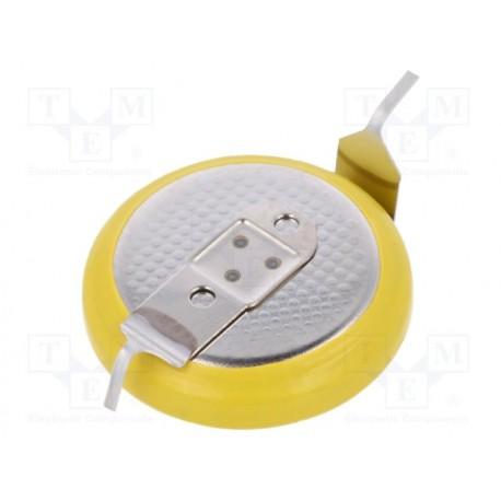 Pile lithium bouton 16x3,2mm 3V 120mA pour circuit imprimé horizontale 2 points