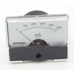 Galvanomètre milli-ampèremétrique 0 à 500mA 70x60mm