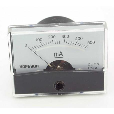 Galvanomètre milli-ampèremétrique 0 à 500 mA 60x47mm