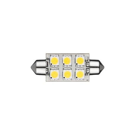 Lampe navette 42mm 6 led CMS blanc 8 à 30Vdc 1,3W
