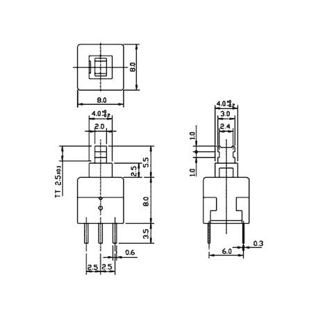 Poussoir inverseur bipolaire pour circuit imprimé 8x8mm on / mom