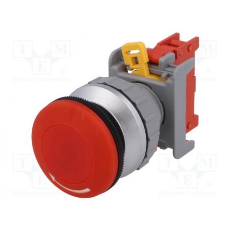 Bouton poussoir d' arrêt d' urgence 35mm découpe du panneau Ø 21mm contact 1NO / 1NF