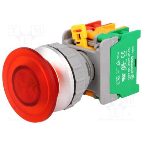 Bouton poussoir lumineux 40mm découpe du panneau Ø 21mm contact 1NO / 1NF avec ampoule Ba9s 24V 80mA 2W