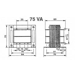 Transformateur 230Vac - 75VA 2x6Vac à étrier