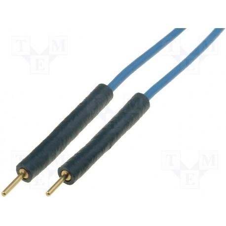 Cordon extra-souple silicone mâle / mâle avec fiche mâle 0,8mm 10cm bleu