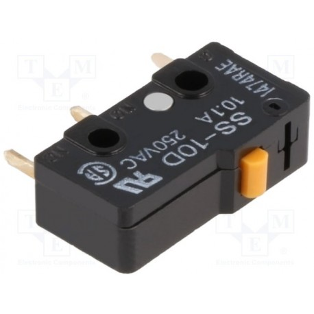Microswitch à poussoir 1R/T 10Amp. 250Vac pour circuit imprimé