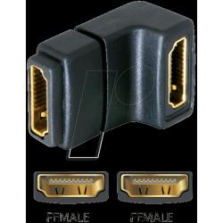 Adaptateur HDMI coudé femelle / femelle doré