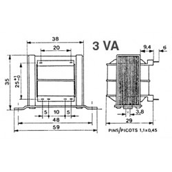 Transformateur 230Vac - 3VA 2x15Vac à étrier