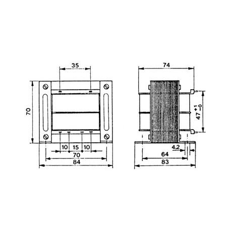 Transformateur 230Vac - 100VA 2x18Vac à étrier