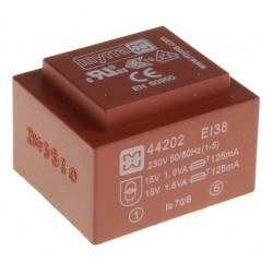 Transformateur moulé 230Vac / 2x15Vac 3,2VA