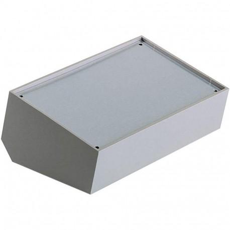 Boîtier pupitre TEKO 363 plastique gris face aluminium argent 215 x 130 x 65 x 75 x 46 mm