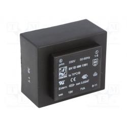 Transformateur moulé 230Vac / 12Vac 7VA 51x43x30mm